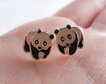 925 Sterling Silver Panda Bear Stud Earrings, Panda Jewlerly, Panda Earrings, Panda Studs, Animal Earrings, Zoo Animal, Bear Earrings, Bear
