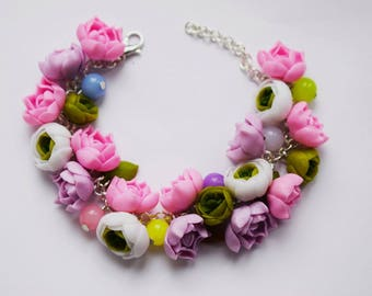 Peonies bracelet, peony earrings, peony pendant, peonies necklace, polymer clay peonies, bridal jewelry, Flower bracelet, earrings, for her