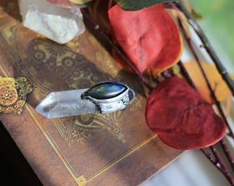 Labradorite and clear quartz pendant