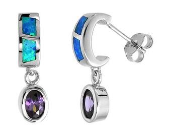 Sterling Silver Blue Opal Dangle Stud Earrings Amethyst