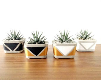 Geometric Square Concrete Planter / Pot for cacti and succulents - White, Black, Gold