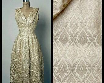 Custom Made 1950's Dior Replica Gold Damask V Neck Sleeveless Tulip Midi Dress