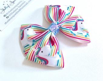 Unicorn ribbon bow for girls. Rinbbon and blue glitter hair bow.