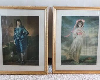Vintage The Blue Boy and Pinkie Large Framed Lithograph