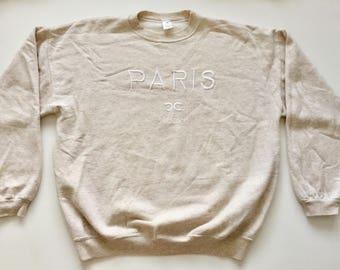 chanel sweatshirt. 80\u0027s chanel cc inspired paris stitched logo sweatshirt tan heather beige cream medium large bootleg