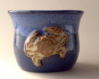 8 oz. Bright Blue Crab Ceramic On the Rocks Cup, Wheel thrown One of a kind. Small Batch pottery.