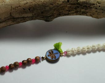 Dragonfly bracelet wood coconut and bone