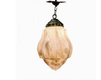 Pink Art deco Pendant Light with Marbled Glass, 1930's - Art Deco Hallway Light - Glass Pendant Light - Antique Pendant Light - Art Deco