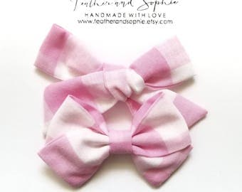 Pink and white, checkerd, sailor bow, schoolgirl bow, handtied, knotted bow.