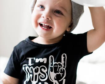 I'm this many rock and roll 2 two year old birthday party shirt toddler boy girl modern monochrome grunge music theme