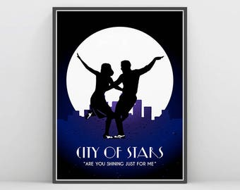 La La Land, La La Land Wall Art, City of stars, Ryan Gosling, Emma Stone , La la land movie Poster, Art Deco, Silhouette, Mia & Sebastian