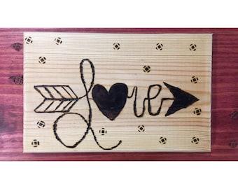 Woodburned Love Arrow Plaque