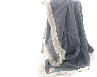 The Indigo Linen Throw