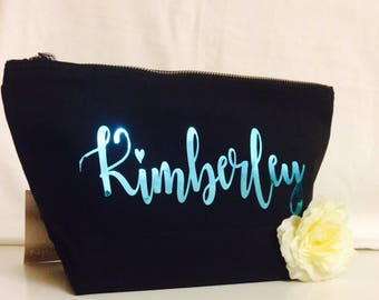 Personalised makeup bag cosmetic makeup bag wedding gift bridal train gift vanitybag