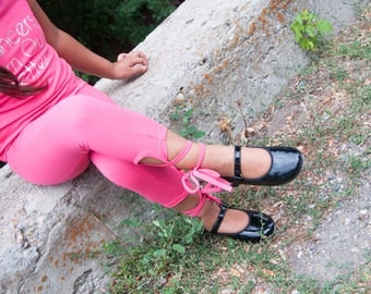 Athletic Ballet Leggings in On Ponit Hot Pink with detail ties.