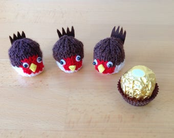 A cute hand knitted robin to cover a Ferrero Rocher chocolate.