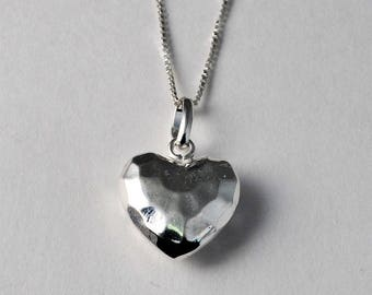 Hammered Puff Heart Necklace, Sterling Silver