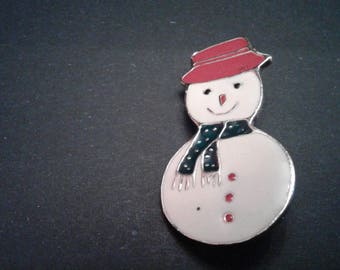 Snowman with Red Hat and Blue Scarf Brooch, Signed AAI