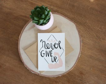 """Map postcard A6 """"Never give up"""" motivation quote illustration, typography, muscle"""