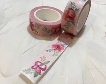 Shabby Chic FLORAL PINK Watercolour Flower Washi Tape
