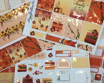 Autumn Treats Gold Foiled Classic HAPPY PLANNER Weekly Decorative Sticker Set