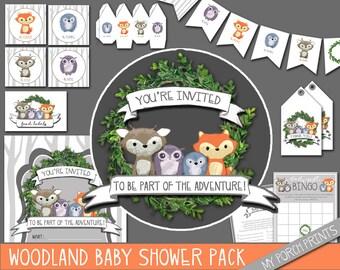 Woodland baby shower decorations, woodland baby shower, woodland baby shower invitation, woodland birthday decorations, baby shower games
