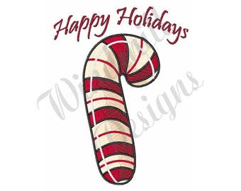 Candy Cane Happy Holidays - Machine Embroidery Design