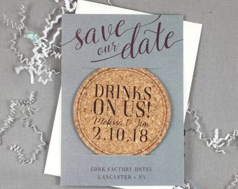 Drinks on Us Grey and Purple Cork Coaster Save the Date with Photograph Includes A7 Envelope - JA1