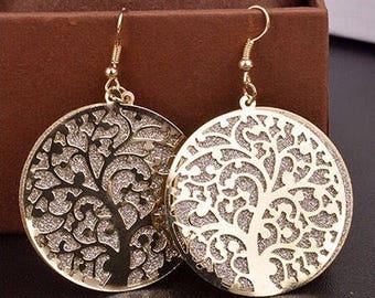 Tree of Life Earrings, Big Pierced Dangles, Fashion Plated Earrings