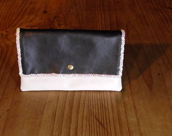 Black and white imitation leather wallet