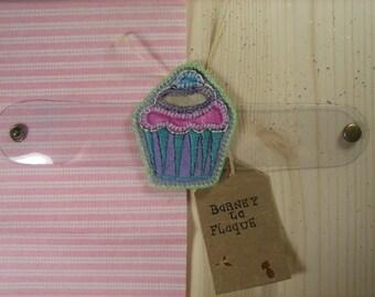 Leatherette and felt cupcake Cuff Bracelet