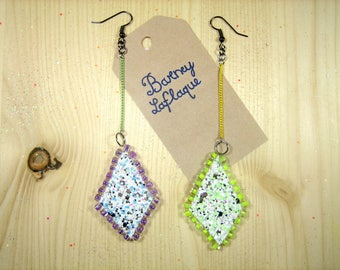 Mosaic earrings sequins and beads
