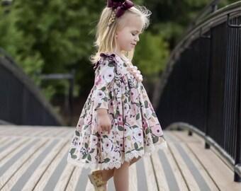 Clara Dress - Custom Ruffle Dress - Pink Floral Dress - Fall Floral Dress - Girls Long Sleeve Dress - Girls Short Sleeve Dress - Lace Dress