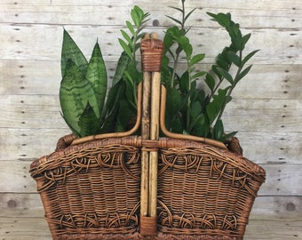 Wicker and Rattan Planter, Magazine Rack or Storage Basket - Boho Jungalow Vintage Home Decor