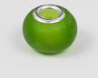 5 Green translucent glass European beads