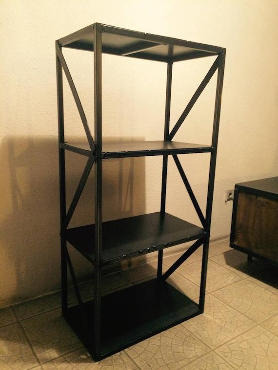 meuble industriel tag res biblioth que acier brut bross. Black Bedroom Furniture Sets. Home Design Ideas