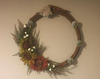 Rustic sunflower lasso  wreath