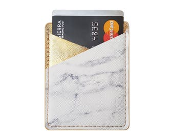 Marble Printed Metallic Gold PU Leather Double Pocket Adhesive Card Holder Stick On Cell Phone Wallet