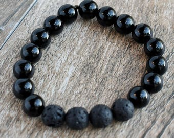 Black Onyx Diffusing Bracelet with Black Lava Beads 7.5""
