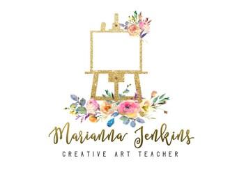 Easel Logo, Art Logo, Logo for Artist, Floral Art Logo, Painter Logo, Painting Logo, Flowers Logo, Logo Design, Golden Logo, Gold Pink logo