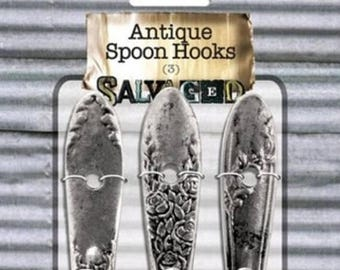 Summer Sale Salvaged Antique Spoon Hooks (3)