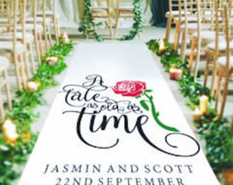 A Tale As Old As Time - Beauty and the Beast Inspired Personalised Wedding Aisle Runner. Custom Wedding Ceremony Carpet Decoration