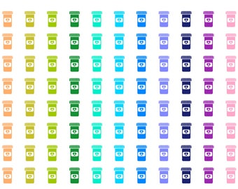 Rainbow medication bottle reminder stickers