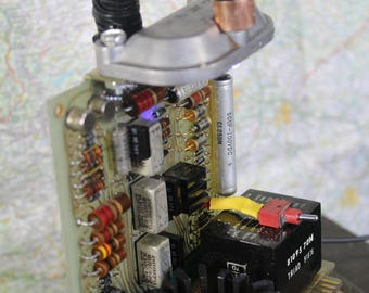 Industrial LED  night light made from vintage circuit boards, steampunk inspired
