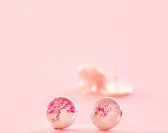 Cute pink earrings stud,flower earrings,cherry blossom watercolour earrings,unique earrings gift for her,trending jewelry,