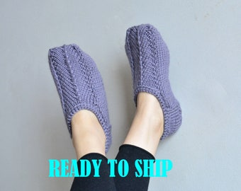 READY size 6 1/2 - 7 US W alpaca slippers knit socks womens knitted slippers handknit socks alpaca socks knit slippers wool