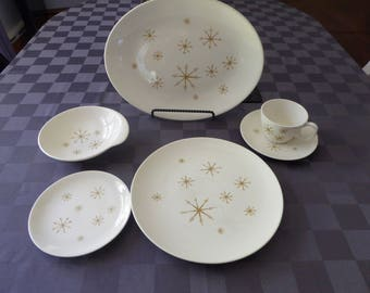 Mid Century Atomic Royal China Crystal/Star Glow 6 Piece Service for Four Plus Platter