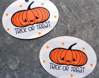 Jack O' Lantern Trick or Treat Tags or Stickers Retro-Kawaii Halloween Labels for Favor Bags Pumpkin Tags Set of 16