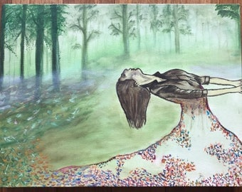 """Oil painting of a woman in a foggy forest with the colorful leaves taking over 