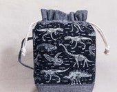 Glow in the Dark Dinosaur Skeletons Medium Drawstring Bag